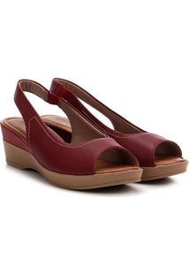 Sandália Anabela Usaflex Chanela Feminina - Feminino-Vermelho Escuro