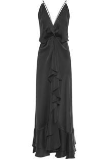 Vestido Seda Babado - Preto