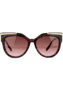 Óculos De Sol Atitude Brilhante Feminino - Feminino-Preto