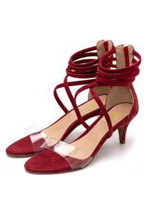 Sandália Salto Alto Meia Cana Em Nobucado Vermelho Com Transparência