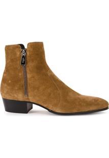 Balmain Ankle Boot De Camurça - Marrom