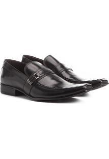 Sapato Social Couro Shoestock Fivela - Masculino-Preto