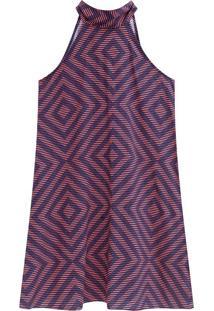 Vestido Curto Estampado Malwee Laranja - M
