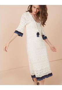 Vestido Com Detalhe Bicolor Branco / G