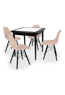 Conjunto Mesa De Jantar Em Madeira Preto Prime Com Azulejo + 4 Cadeiras Eames Eiffel - Nude