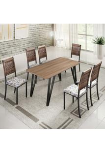 Conjunto De Mesa De Jantar Lizzi Com 6 Cadeiras Estofadas Madeira E Floral
