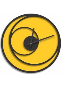 Relógio De Parede Premium Amarelo Com Relevo Preto Ônix 50Cm Grande