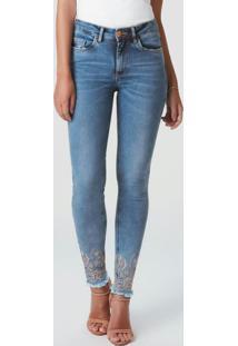Calça Azul Escuro Skinny Power Jeans Bordada
