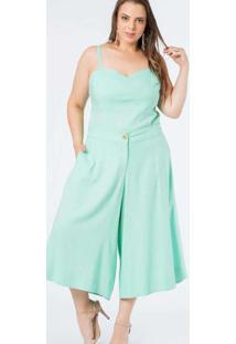 Calça Almaria Plus Size Munny Pantacourt Liso Verd