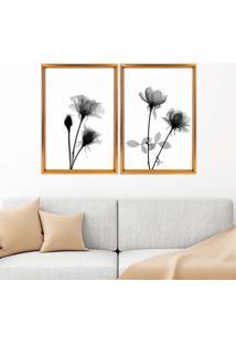 Quadro Com Moldura Chanfrada Flores Preto E Branco Dourado - Médio
