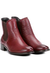 Bota Chelsea Shoestock Flat Couro Feminina - Feminino-Bordô