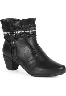 Ankle Boots Feminina Mooncity Tira Trançada Preto
