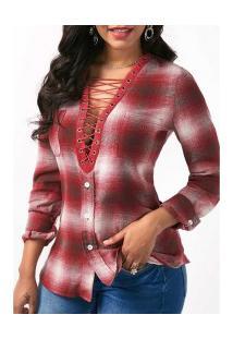Camisa Feminina Estampa Xadrez Decote V Profundo - Vermelho