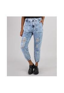 """Calça Jeans Feminina Jogger Cintura Super Alta Destroyed Com Cadarço Hi Bye"""" Azul Claro"""""""