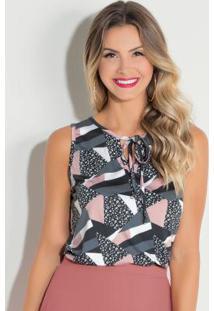 Blusa Geométrica Rosa Com Cordel No Decote