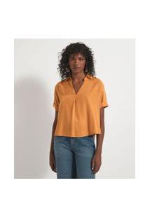 Camisa Manga Curta Com Abotoamento Nas Costas   Marfinno   Amarelo   Pp