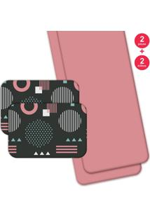 Jogo Americano Love Decor Com Caminho De Mesa Geometric Pink - Kanui