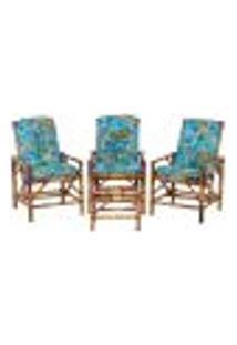 Conjunto Mesa E 3 Cadeiras De Bambu Cancun Para Área Edicula Jardim G35