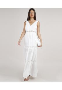 Vestido Feminino Longo Com Renda Alça Larga Off White