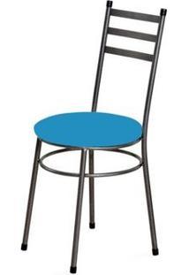 Cadeira Baixa 0.135 Redonda Craqueado/Azul - Marcheli