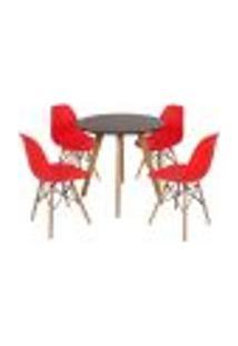 Mesa Laura 80Cm Preta + 4 Cadeiras Eames Eiffel - Vermelha