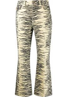 Ganni Calça Jeans Cropped Cintura Alta - Amarelo
