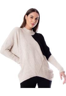 Blusa Feminina Biamar Oversized Malharia Bege/Preto - U