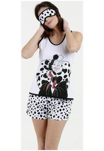 Pijama Feminino Estampa Cruella Brinde Sem Manga Disney