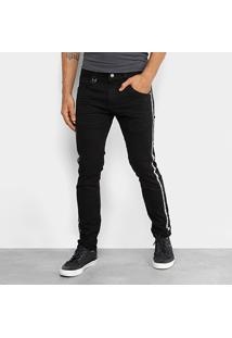 Calça Skinny Rock & Soda Sarja Amassado Faixa Lateral Cintura Média Masculina - Masculino