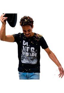 Camiseta Manga Curta Dom Romeu Di.Ver.Cidade Preto