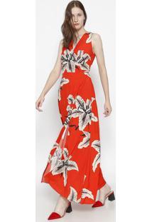Vestido Longo Floral - Vermelho & Cinzaosklen