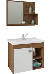 Gabinete Suspenso Para Banheiro Lótus 46X55Cm Amêndoa E Branco