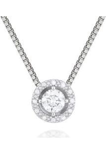 Pingente Solitário Ouro Branco E 29,8 Pontos De Diamantes