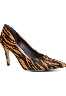 Scarpin Couro Shoestock Pelo Zebra Salto Alto - Feminino-Zebra