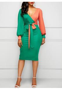 Vestido Midi Bicolor Laço Manga Longa - Verde/Laranja M