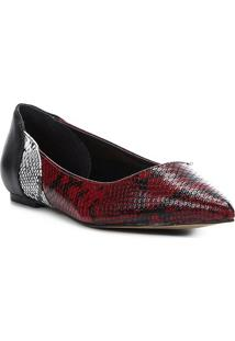 Sapatilha Shoestock Bico Fino Wild Snake Feminina - Feminino-Vinho