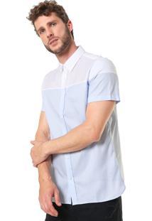 Camisa Calvin Klein Reta Bicolor Branca/Azul