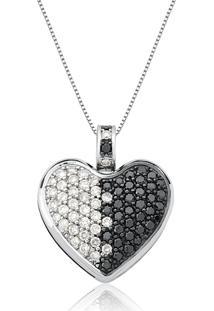 Pingente De Ouro Branco 18K Pavê Coração Com Diamantes Brancos E Negros-Catálogo Diamantes