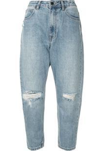 Izzue Calça Jeans Cropped Com Cintura Média - Azul