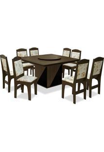 Conjunto De Mesa Para Sala De Jantar Com 8 Cadeiras Lisse-Dobuê - Castanho / Preto / Bege Floral