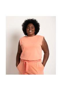 Blusa Regata Muscle Em Moletom Lavado Curve & Plus Size