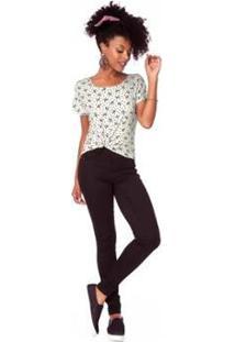 Blusa Rovitex Viscotorcion Premium Feminina - Feminino-Preto+Branco
