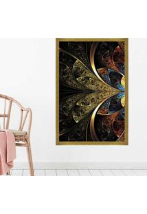 Quadro Love Decor Com Moldura Vitral Abstrato Dourado Médio