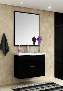 Conjunto Para Banheiro Pietra Preto/Preto Brilho Bosi