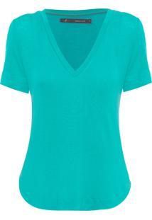Blusa Feminina Básica Decote V - Verde