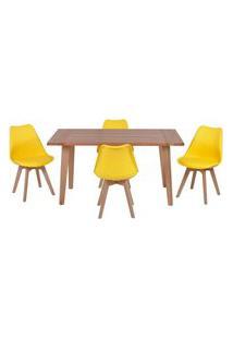 Conjunto Mesa De Jantar Em Madeira 150X80 Vértice + 4 Cadeiras Leda - Amarelo
