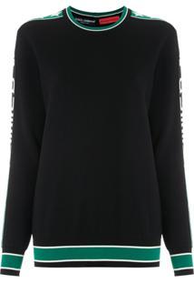 Dolce & Gabbana Blusa De Lã Jacquard Com Logo - Preto