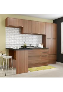 Cozinha Compacta 11 Portas 3 Gavetas 5454R Nogueira/Malt - Multimóveis