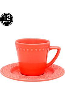 Conjunto 12 Pçs Xícaras De Chá 220Ml Coral Laranja Daily