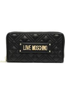 Love Moschino Porta-Moedas Matelassê Com Placa De Logo - Preto